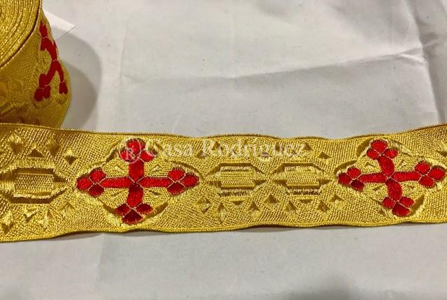 Galón dorado cruz roja (50mm)