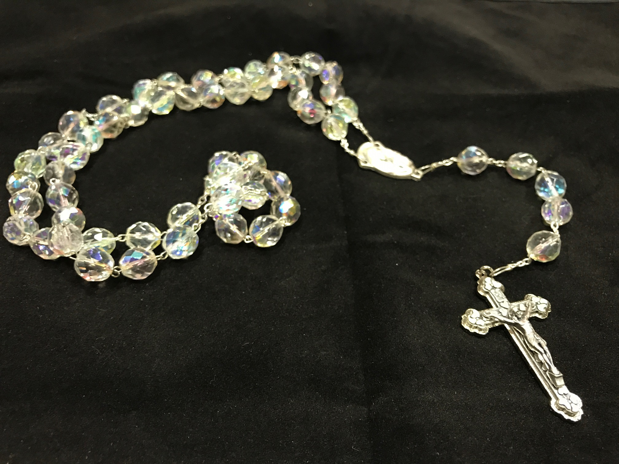 Rosario de cristal y plata
