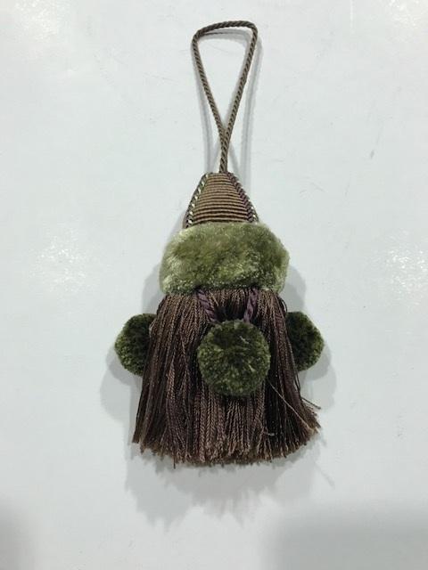 Borla de seda verde y marrón (10cms)