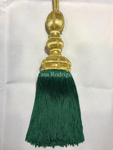 Borla dorada con fleco verde (30cms)
