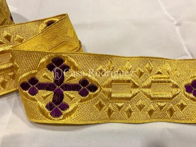 Galón dorado cruz morada