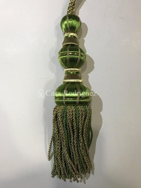 Borla dorada y verde Macarena (30cms)
