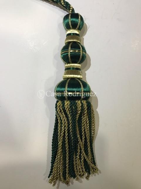 Borla dorada y verde botella (30cms)